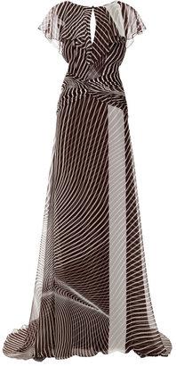 Carolina Herrera Ruched Capelet Gown