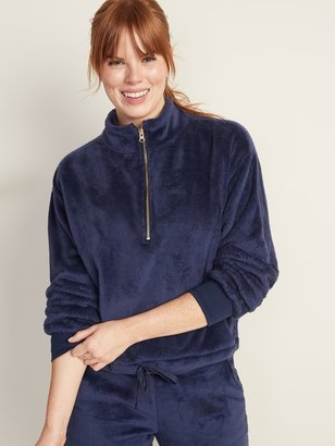 Old Navy Mock-Neck Plush-Knit 1/2-Zip Pullover for Women