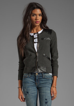 Milly June Knits Genevieve Leather Trim Jacket