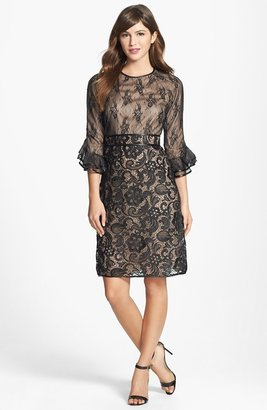 Mikael Aghal Leather Trim Floral Lace Dress