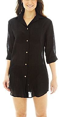 JCPenney Wearabouts 3/4-Sleeve Big Shirt Cover-Up