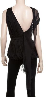 Max Studio Silk Chiffon Asymmetrical Blouse