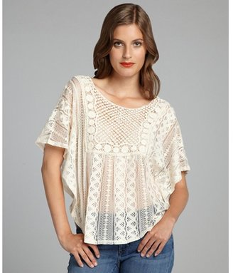 The Cue cream lace and crochet flutter sleeve 'Sarah' top