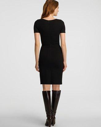 Halston Contrast Lace Front Short Sleeve Dress