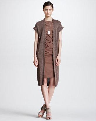 Brunello Cucinelli Long Short-Sleeve Metallic Cardigan, Mud