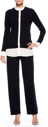 Escada Side-Button Cashmere Pants, Navy