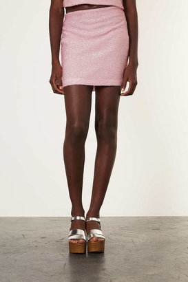 Topshop Co-ord Pale Pink Fluffy Mini