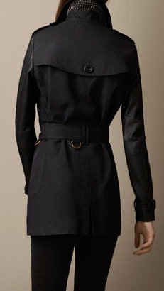 Burberry Leather and Technical Cotton Trench Coat