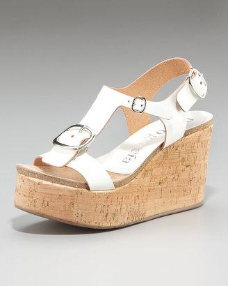 Pedro Garcia Leather Buckle Cork Wedge Sandal