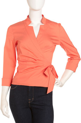 Lafayette 148 New York Wrap-Front Blouse, Papaya