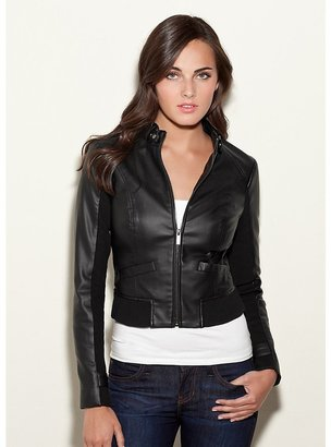 GUESS Ribbed-Panel Faux-Leather Jacket