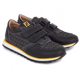 Fendi Black & Yellow Velcro Strap Trainers