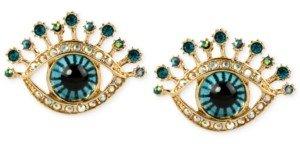 Betsey Johnson Gold-Tone Glass Stone and Enamel Eye Stud Earrings