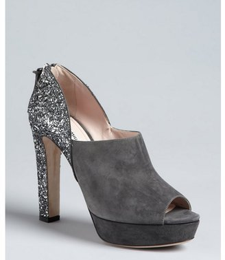 Miu Miu Miu cement suede glitter heel peep toe platform pumps