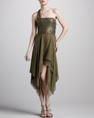 J. Mendel Beaded One-Shoulder Dress