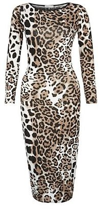 New Look 147 Fashion Brown Leopard Print Midi Dress