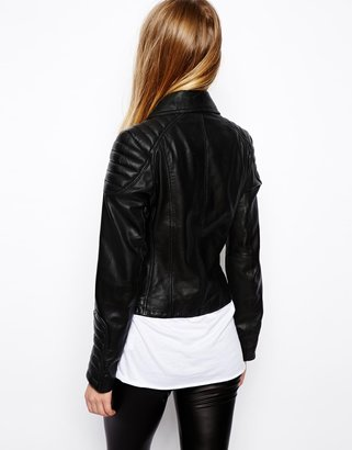 Asos Leather Jacket with Biker Panel Detail