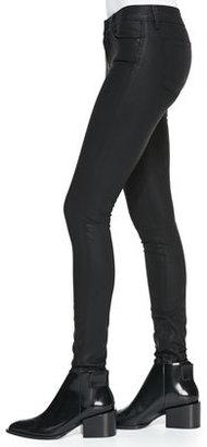 Vince Zipper-Cuff Coated Skinny Pants, Black