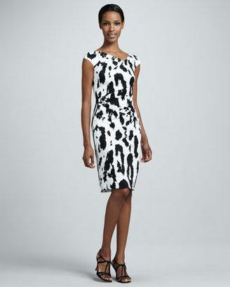 Talbot Runhof Leopard-Print Ruched Cocktail Dress