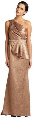 Carmen Marc Valvo metallic bronze brocade one shouler train hem evening gown