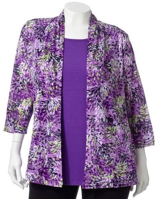Sag Harbor floral burnout cardigan set - women's plus