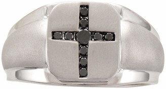 Black Diamond FINE JEWELRY Mens 1/4 CT. T.W. Color-Enhanced Sterling Silver Mens Cross Ring
