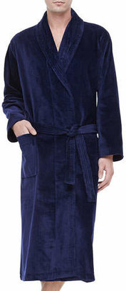 Derek Rose Terry Cloth Robe, Navy