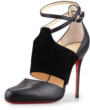 Christian Louboutin Trotter Banded Ankle-Wrap Pump, Black