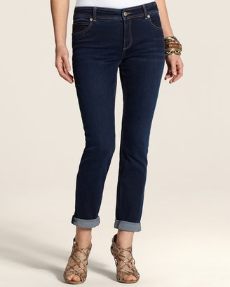 Chico's Dark Bella Wash Roll Cuff Ankle Jeans