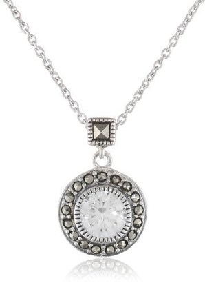 "Judith Jack ""Classics"" Sterling Silver, Marcasite, Cubic Zirconia Round Pendant Necklace, 16"" $98 thestylecure.com"