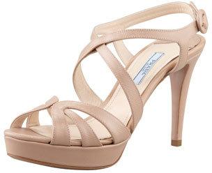 Prada Patent Saffiano Leather Sandal, Cammeo