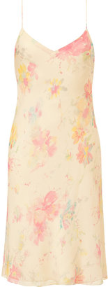 Ralph Lauren Vanilla Multi-Butterfly Floral Georgette Slip Dress