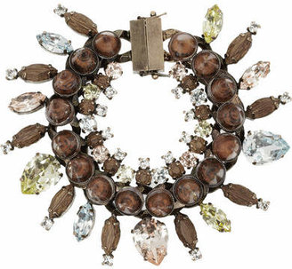Givenchy Rose Gold-tone, Crystal, Obsidian And Rosewood Bracelet - Brown