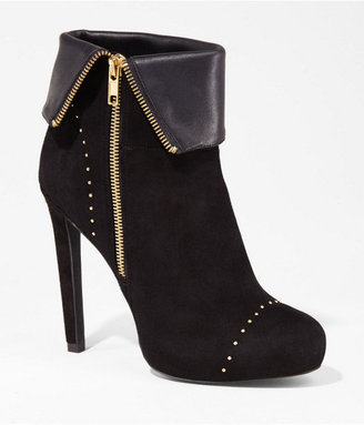 Express Suede Studded Fold-Over Runway Bootie