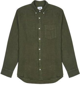 NN07 Levon Dark Green Linen Shirt