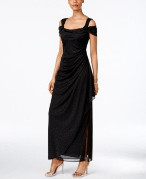 Alex Evenings Cold-Shoulder Draped Metallic Gown, Regular & Petite Sizes