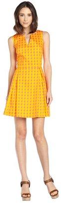 JB by Julie Brown orange and pink stretch cotton 'Rafia' pattern flare dress