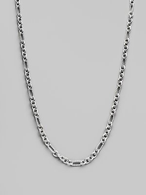 David Yurman Sterling Silver & 18K White Gold Chain Necklace