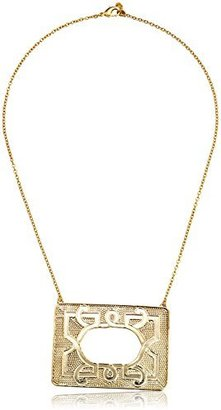 Yochi Design Yochi Geo Textured Gold Colored Frame Necklace, 18""