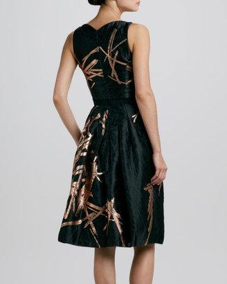 Carolina Herrera Metallic Twig-Print Jacquard Dress