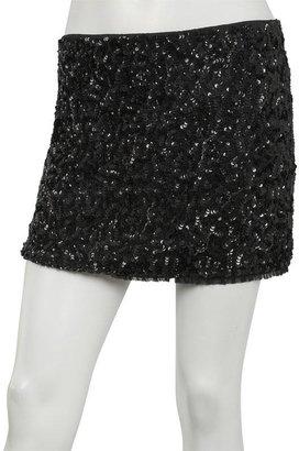 Alice + Olivia Sequin Mini Skirt in Black -