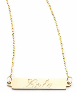 """Chicco Zoe 14k Personalized Gold Bar-Pendant Necklace, 18"""""""