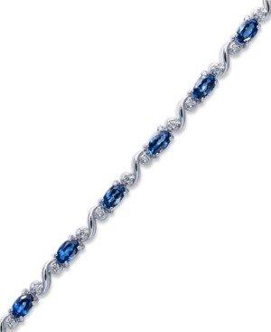 Macy's Sterling Silver Bracelet, Oval-Cut Tanzanite (3 ct. t.w.) and Diamond (1/8 ct. t.w.) Bracelet