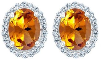 Premier Oval Gemstone & 1/5cttw Diamond Earrings, 14K