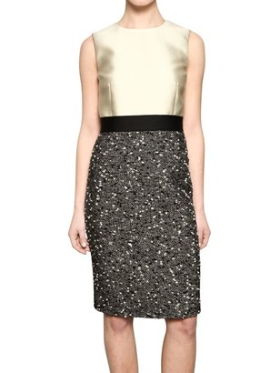 Giambattista Valli Wool Crepe & Tweed Dress