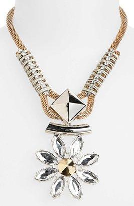 Topshop Rhinestone Flower Pendant Necklace