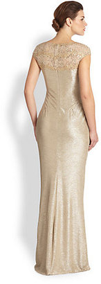 David Meister Sequin Lace & Metallic Crepe Gown