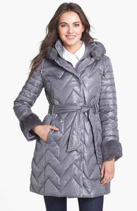 Via Spiga Genuine Rabbit Fur Trim Down & Feather Coat