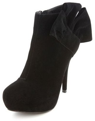 Charlotte Russe Sueded Side-Bow Bootie