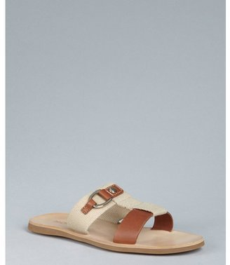 Hogan sand canvas and leather sandals